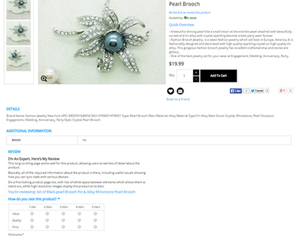 Gokoco has more individual product reviews on its product detail pages