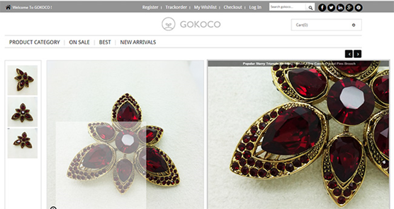 Gokoco product pages feature large, zoom ready images